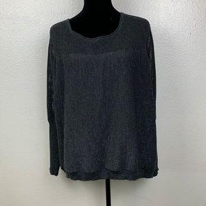 Eileen Fisher Black Merino Wool Blend Sweater
